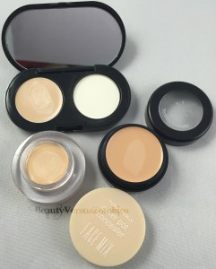 Pictured above: TonyMoly's Face Mix Cover Pot, Missha's The Style Perfect Concealer, and Bobbi Brown's Creamy Concealer Kit.